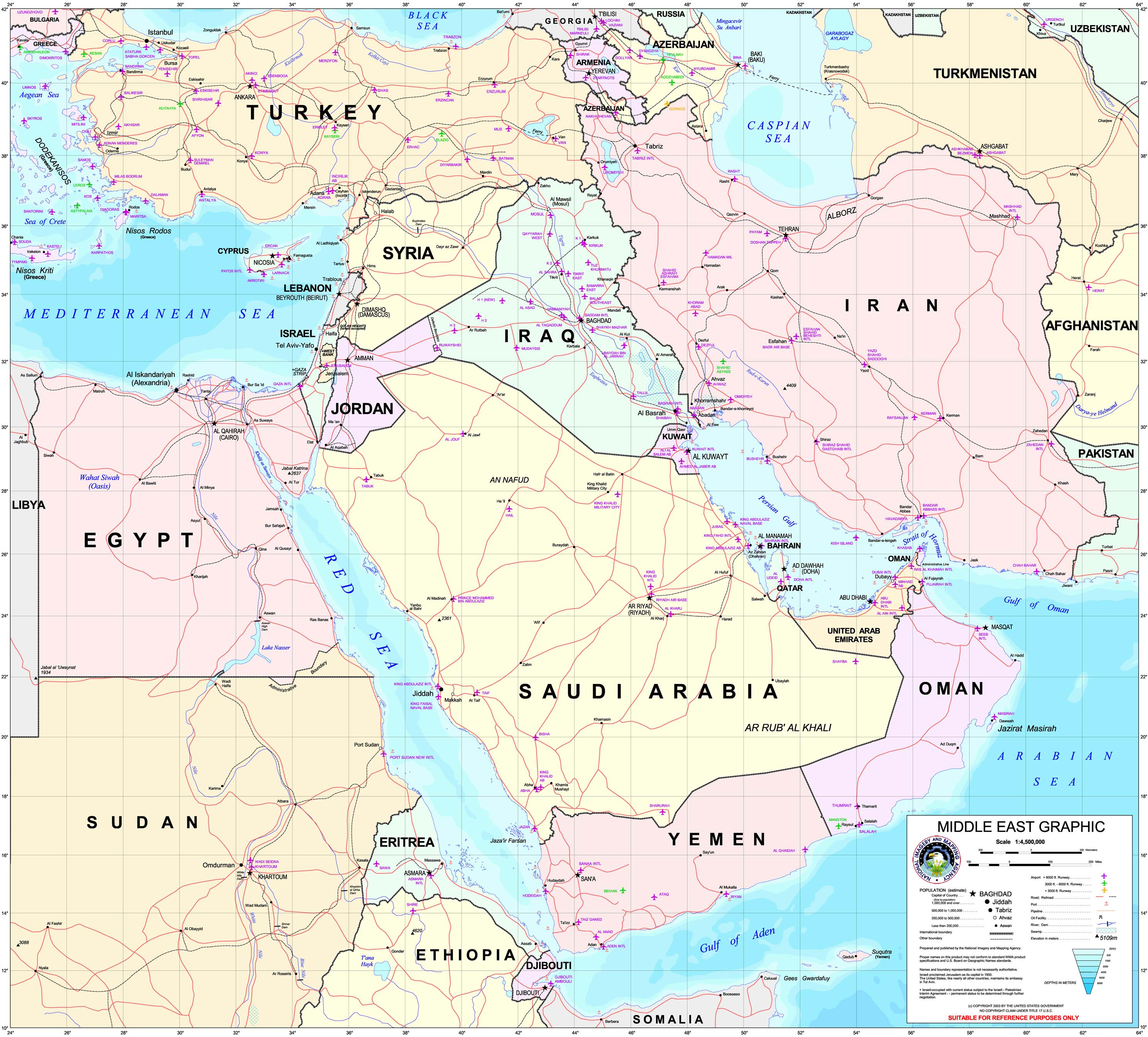labeled middle east map -